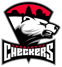 The Charlotte Checkers logo - An aggressive Polar Bear displayed prominently below a skyline of the city of Charlotte.